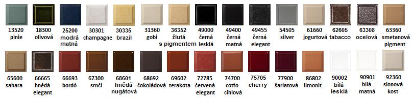 Barevné glazury keramiky Romotop