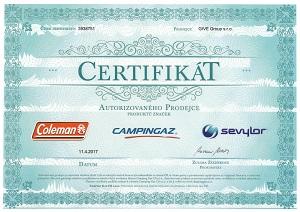 Certifikát Campingaz