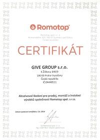 Certifikát Romotop